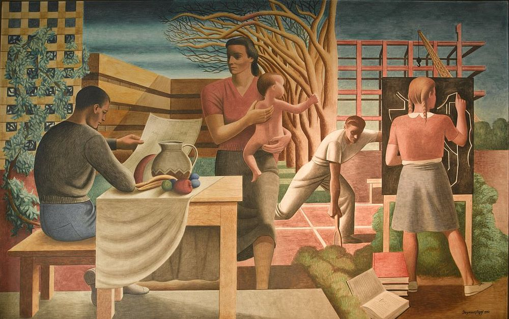""" Security of the Family,""  WPA mural for the   Health and Human Services Building, Washington D.C., by Seymour Fogel, an apprentice to Diego Rivera on his Roc kefeller Center mural."
