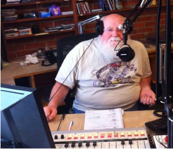 Old Red on the mic at WMMT-FM 88.7, the community radio station run by Appalshop. (Facebook photo)