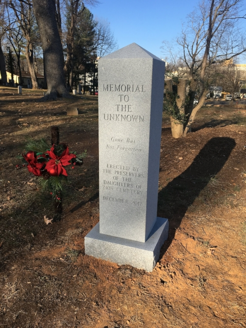 Memorial to the Unknown at the Daughters of Zion Cemetery in Charlottesville, VA