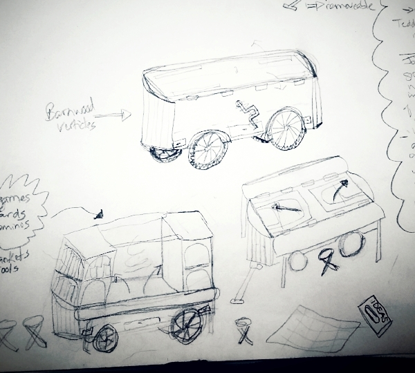 A sketch for the belonging bandwagon, a movable repository for stories, resources for making things, and printed information.