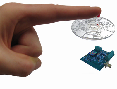 """Radins' microfluidic chip will allow astronauts to test for """"blood sugar, liver and kidney function, and more."""" (Image source)"""