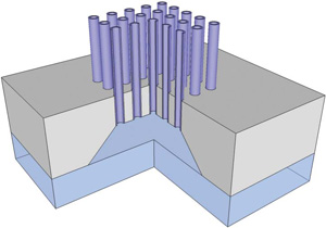 Schematic of microsryinge illustrates the array of needles connecting to independent reservoirs on reverse.