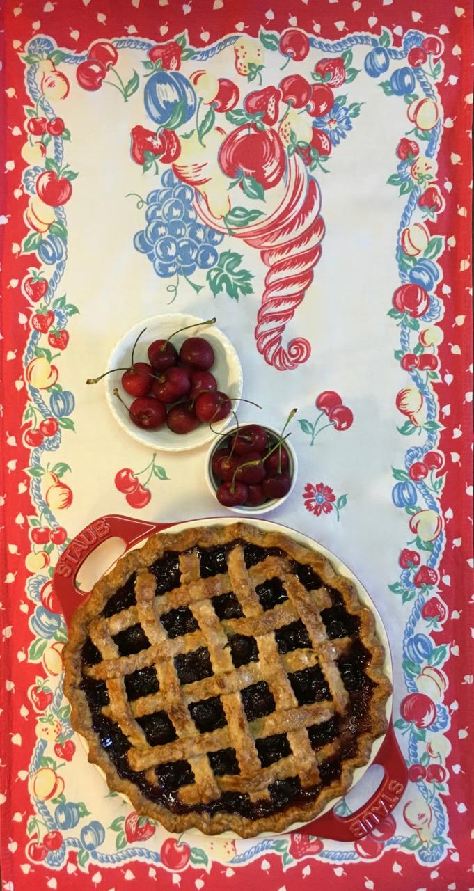 Lattice Cherry Pie Vintage Towel Staub Pie dish