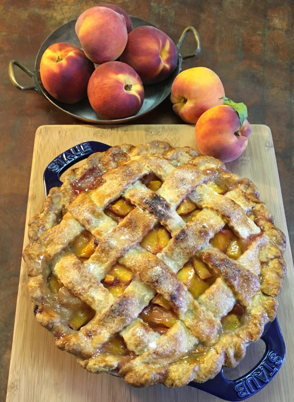 Peach Pie in Staub Pie Dish