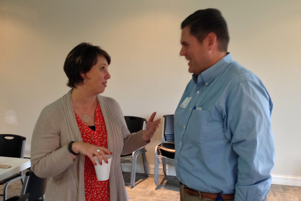 INARF CEO Kim Opsahl chats with State Rep. Ed Clere