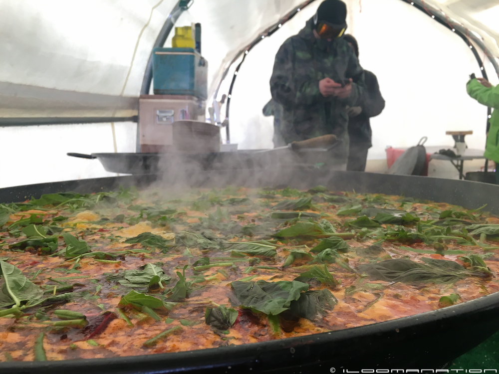 Paella on simmer in the competitors tent.