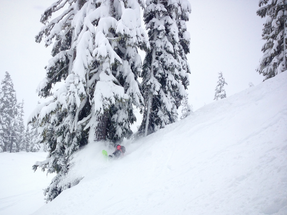 a shot my buddy jesse got of me leaning back in some pow.
