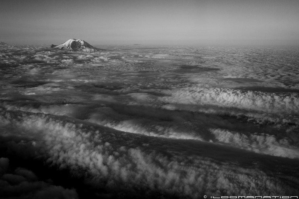 The view of Mount Rainier on the flight out of Seattle.