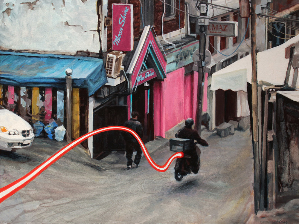 """Outside the Moonshine Club"", Oil on paper on wood, 12 x 16 inches, 2015"