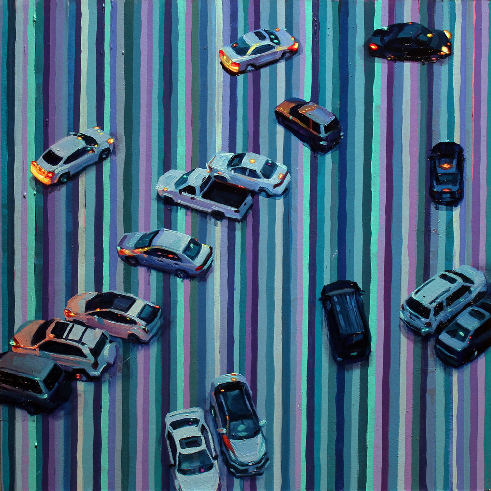 """Cars and Stripes"", oil on paper adhered to wood, 2017"