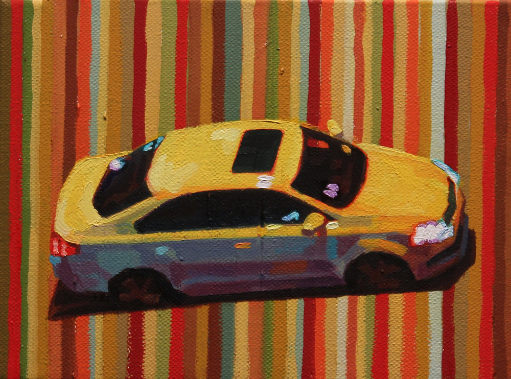 """Yellow Car"", oil on canvas, 5 x 7 inches, 2016"