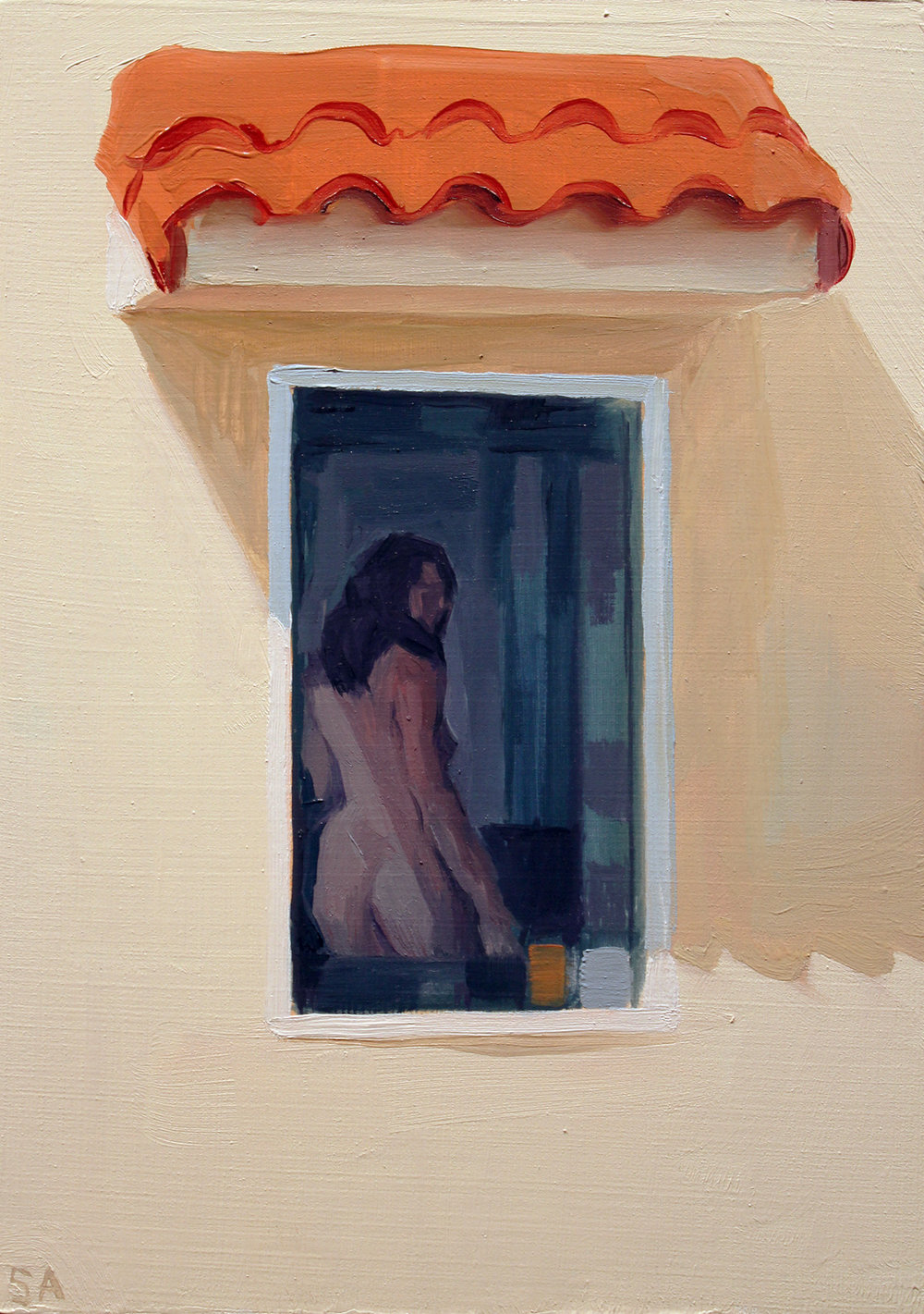 "Study for ""Noon Moon"", oil on wood, 5 x 7 inches, 2017"