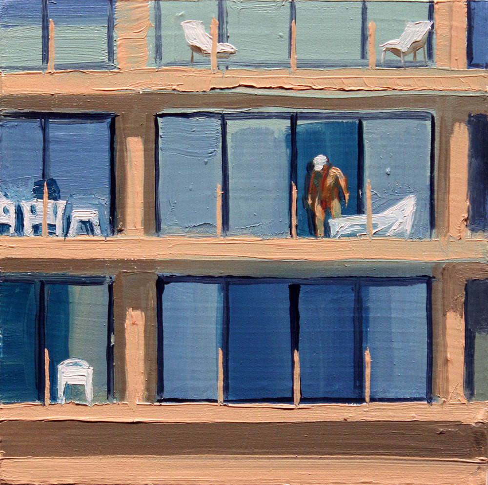 """Manhattan Beach"", oil on wood, 4 x 4 inches, 2017"