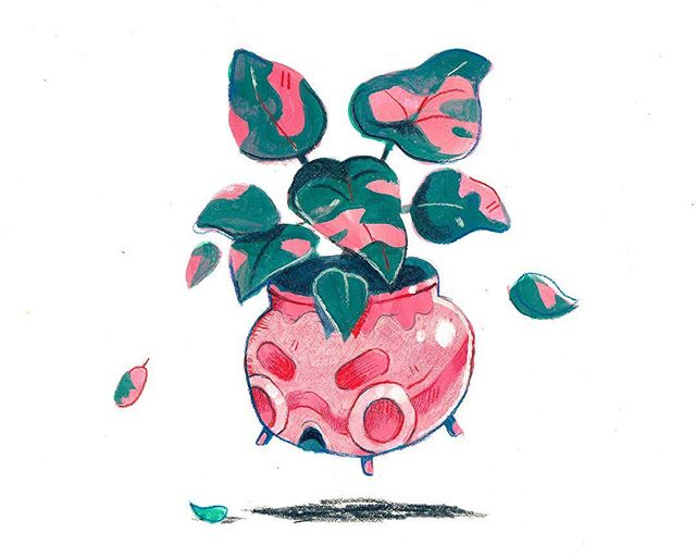 Philodendron Erubeslens aka The Pink Princess Plant. 💖🌱👑 My contribution to the Art & Seal show at @gallerynucleus. My first ever traditionally painted/drawn Plant Friend features on an sealed envelope which contains a small surprise. This is one of a kind piece which you can purchase on their website! (Link in the profile 🔗)