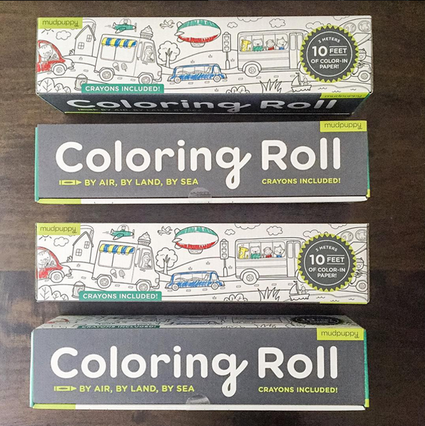 These coloring rolls comes in a huge roll but there is a mini version too! You can find it  here .