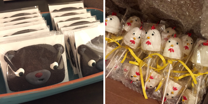 My mother in law made these incredible BEAR cookies and CHICKEN cake pops. These photos really don't do it justice.