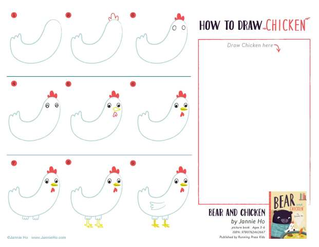 How to Draw Chicken Worksheet
