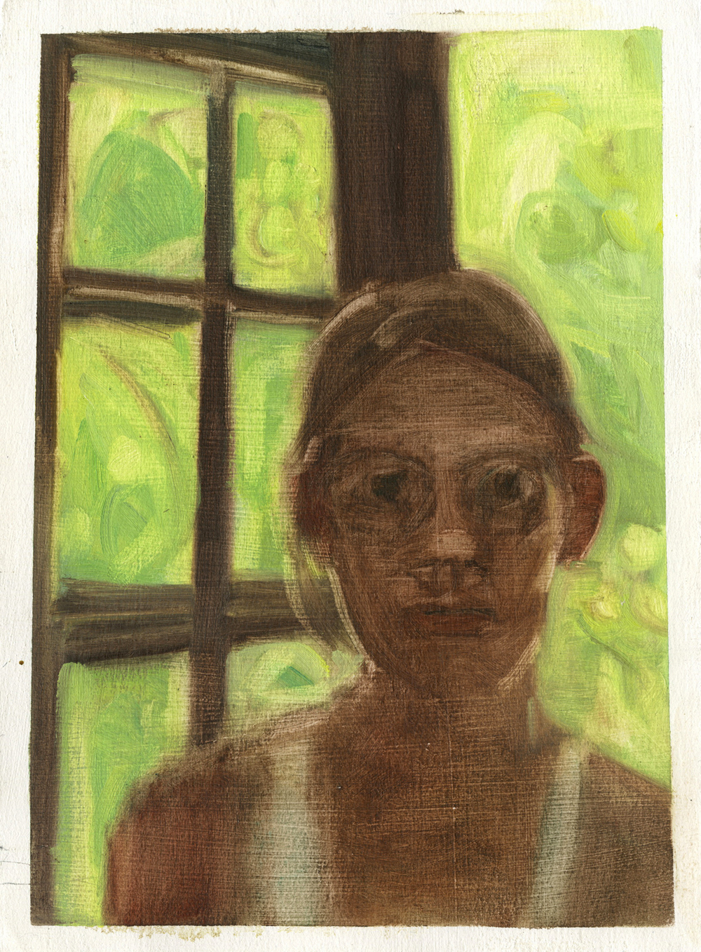 Self-portrait (with Pavlovnia Tree, Giverny residency),  10 7/8'' 7 1/4'', Oil on Paper.  Private Collection.