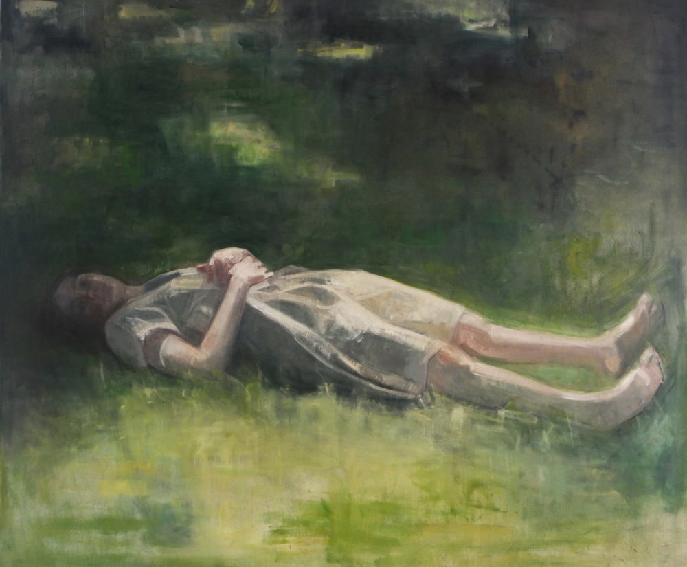 "Self-Portrait (in grass),  64"" x 76"", Oil on canvas."