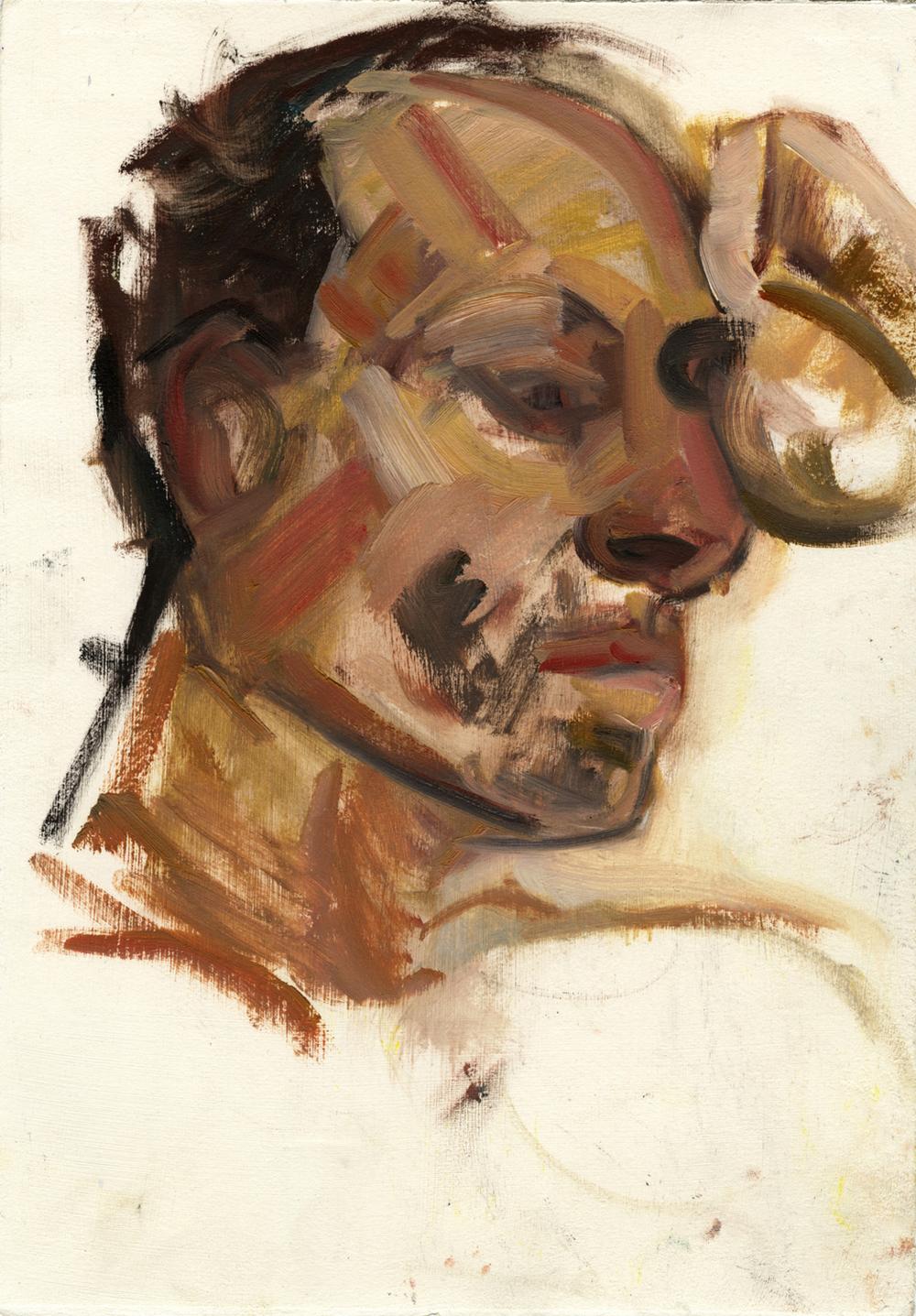 """Daniel (profile) , 14"""" x 10"""", Oil on paper."""