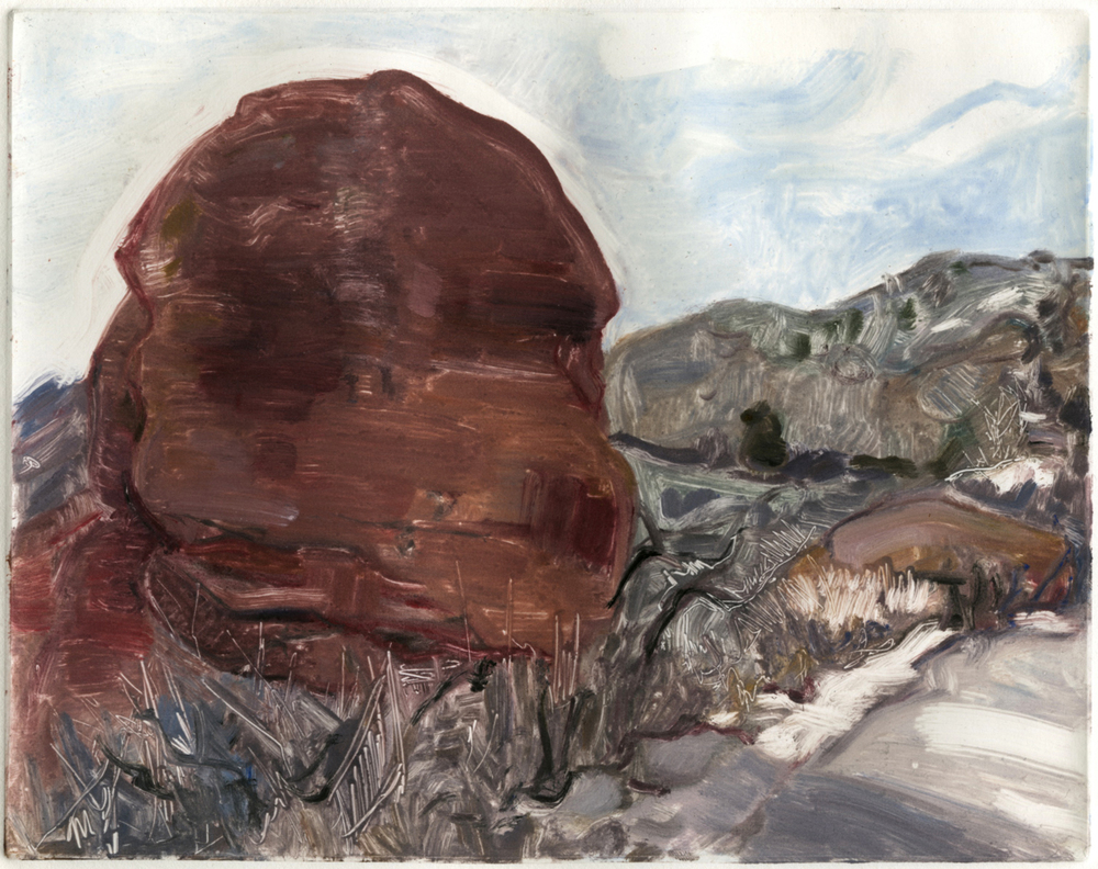 "Portrait of a rock (Red Rocks, Colorado) , 8"" x 10"", Monotype."