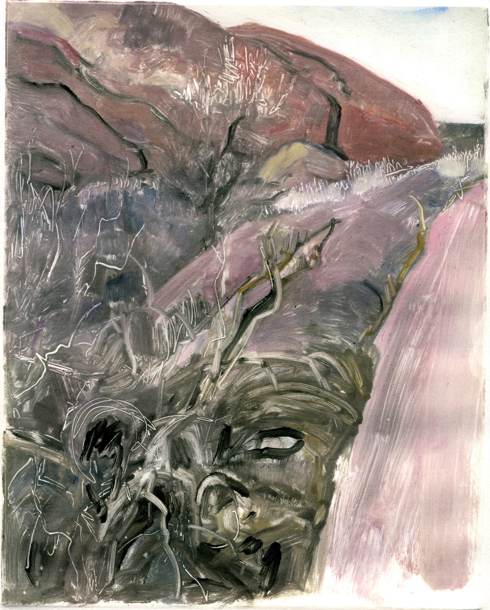 "Grassy Crevice (Red Rocks, Colorado) , 10"" x 8"", Monotype."