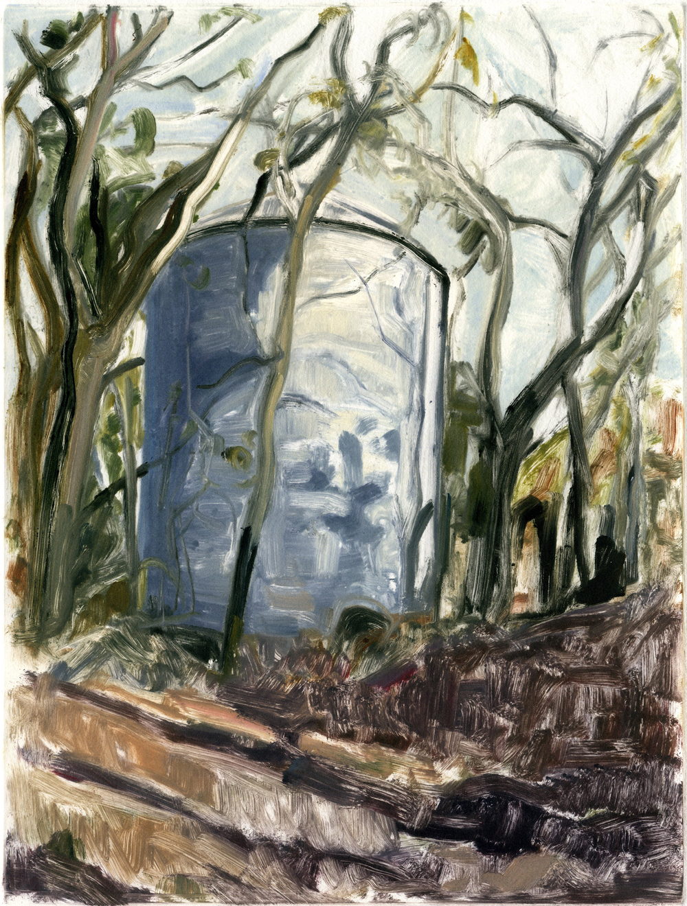 "Grain Silo #2 (Project on memory),  12"" x 9"", Monotype."
