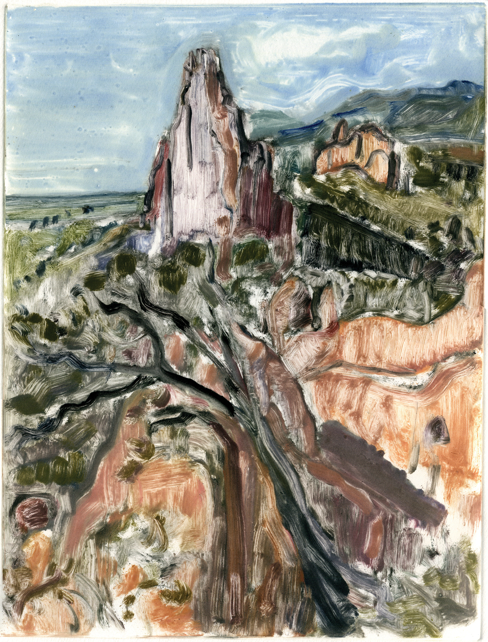 "View from the top (Garden of the Gods, Colorado) , 12"" x 9"", Monotype."