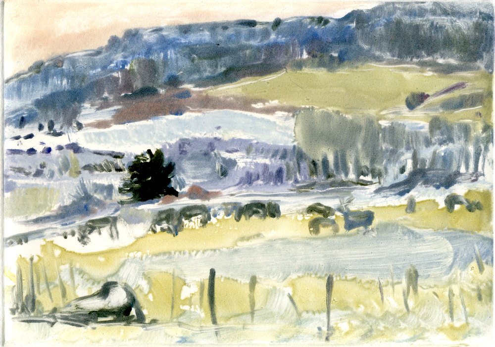 "Deer, Fence (Red Rocks, Colorado) , 5"" x 7"", Monotype."