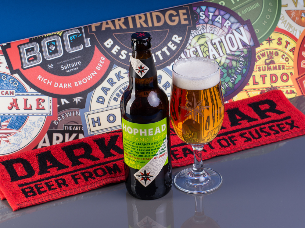 Some Beers form the Dark Star Brewery in Partridge Green. I've recently joined their new beer club, and they kind enough to lend me one of their skate boards to use as added interest.  Mixing still life with a product shoot, I wanted some punch to the images.