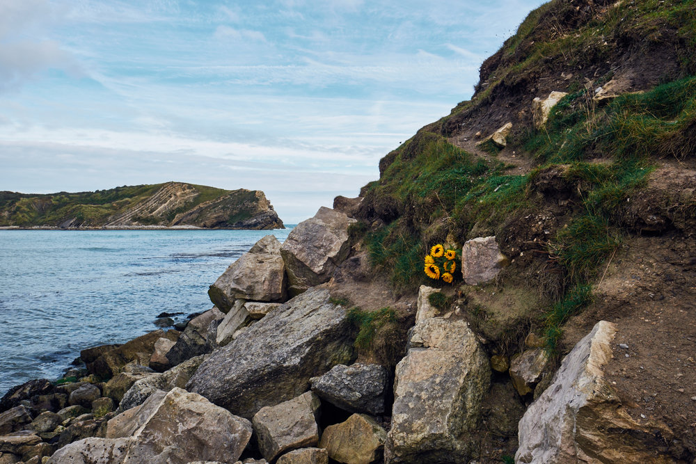 Floral Tribute at Lulworth Cove - © Andrew Newson