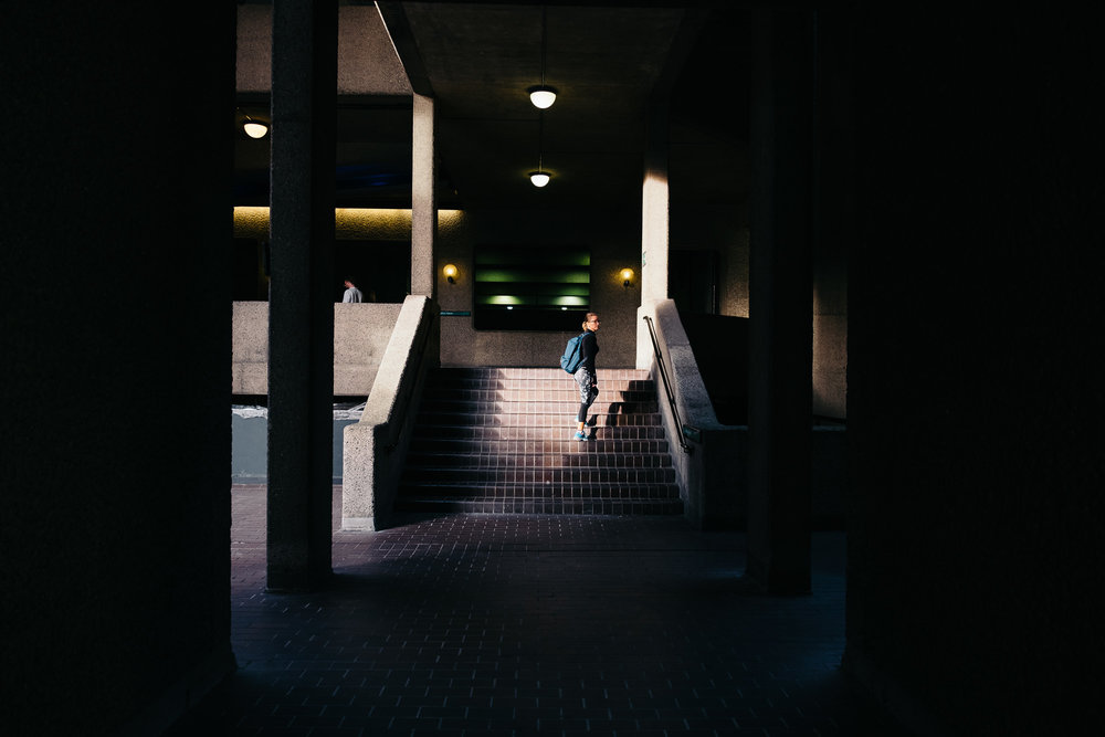 Woman on stairs, Barbican Centre © Andrew Newson