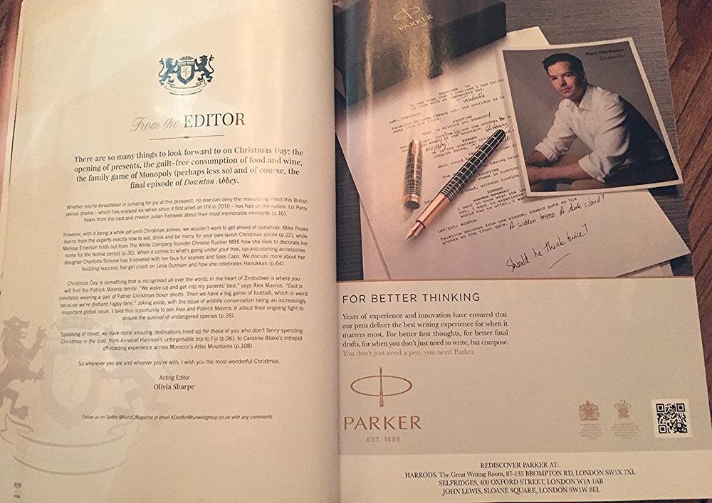 Harry Otto Brünjes, Parker Pen, Kensington & Chelsea Magazine