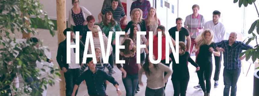 A still from the OVO Wellbeing film, featuring a lunchtime company flashmob.