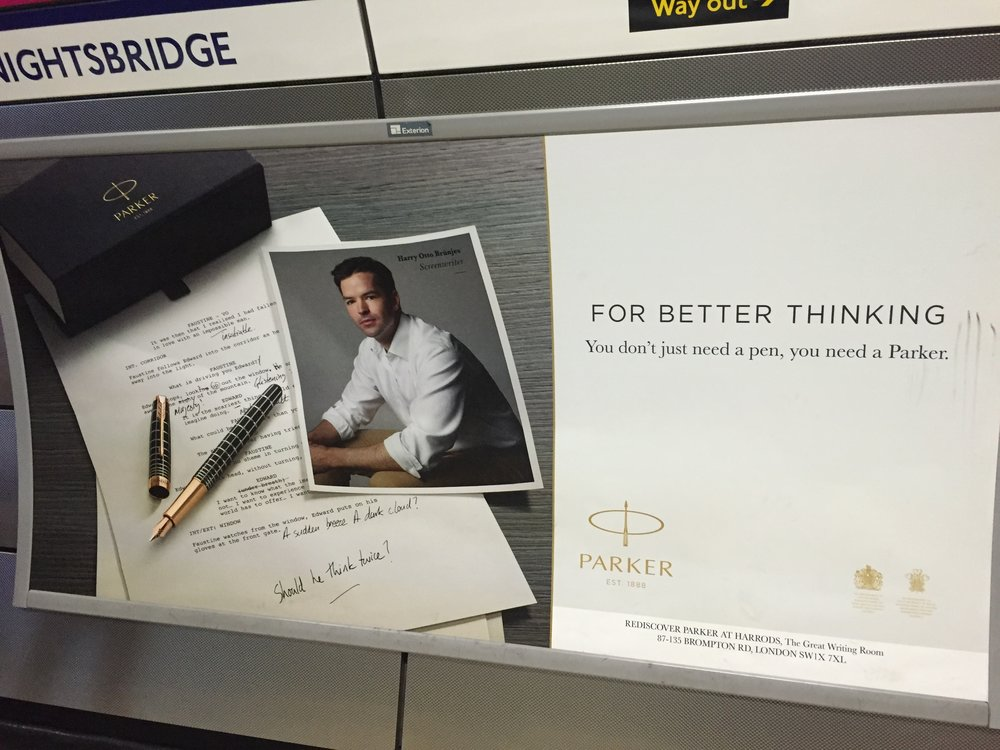 Harry Otto Brunjes, Parker Pen, Screenwriter, Knightsbridge Station