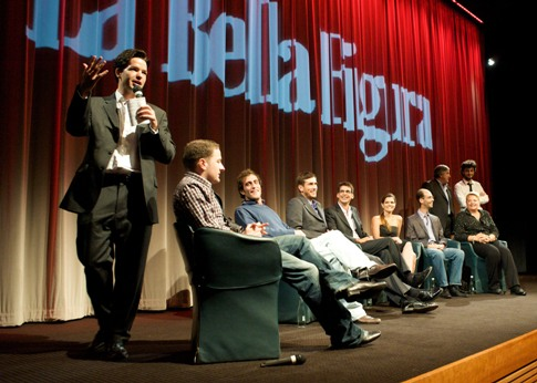 Harry Otto Brunjes and the cast of La Bella Figura at BAFTA