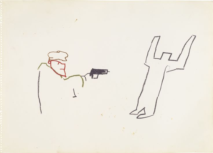 """Untitled (Gun)"" - Jean-Michel Basquiat 1981"