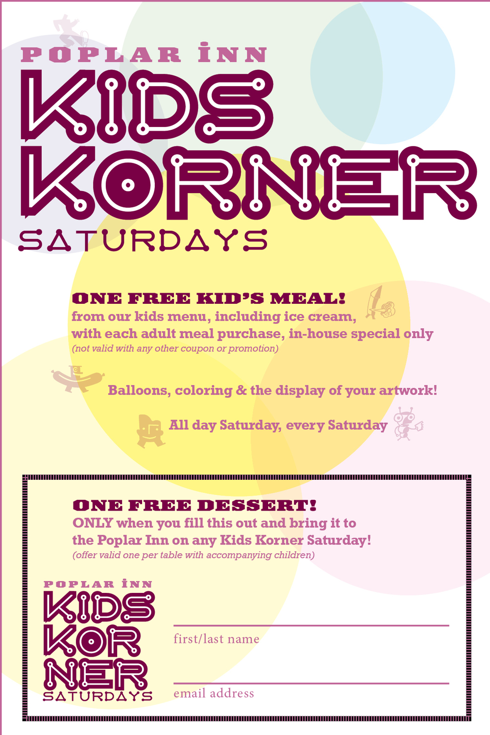 Click on this flyer to download, print it out and bring it to The Poplar for a free dessert!
