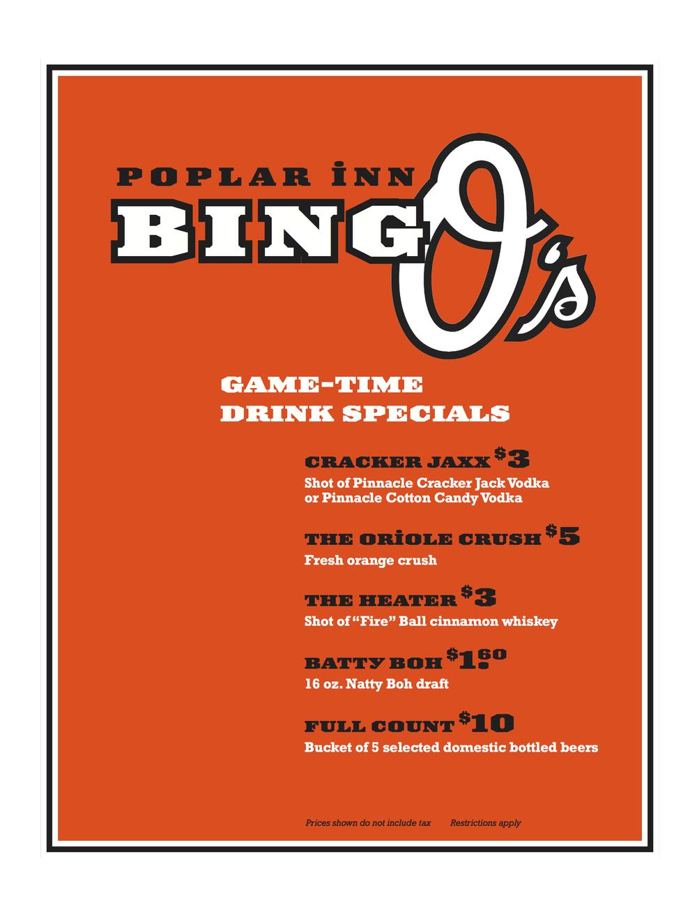 Gametime drink specials!