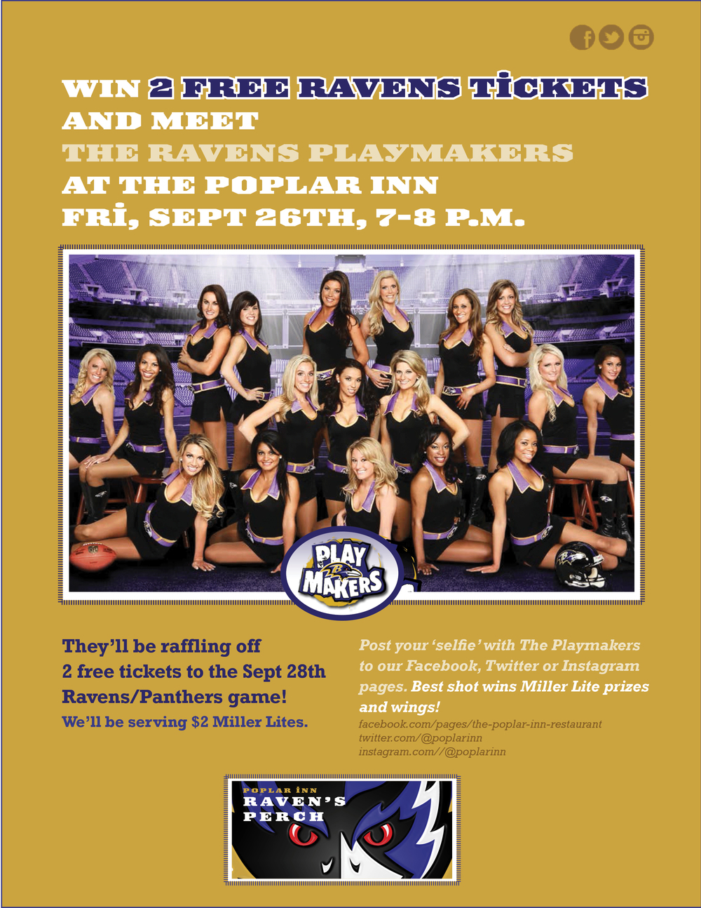 Come in and win Ravens tickets from the Ravens Playmakers!