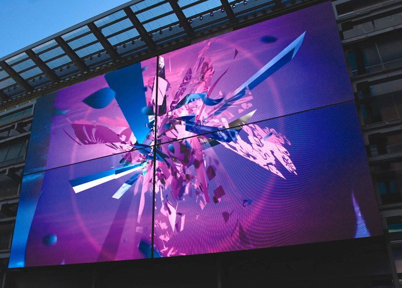 These screens could also be combined  in sets of four to create 31ft x 53ft super screens with HD resolution