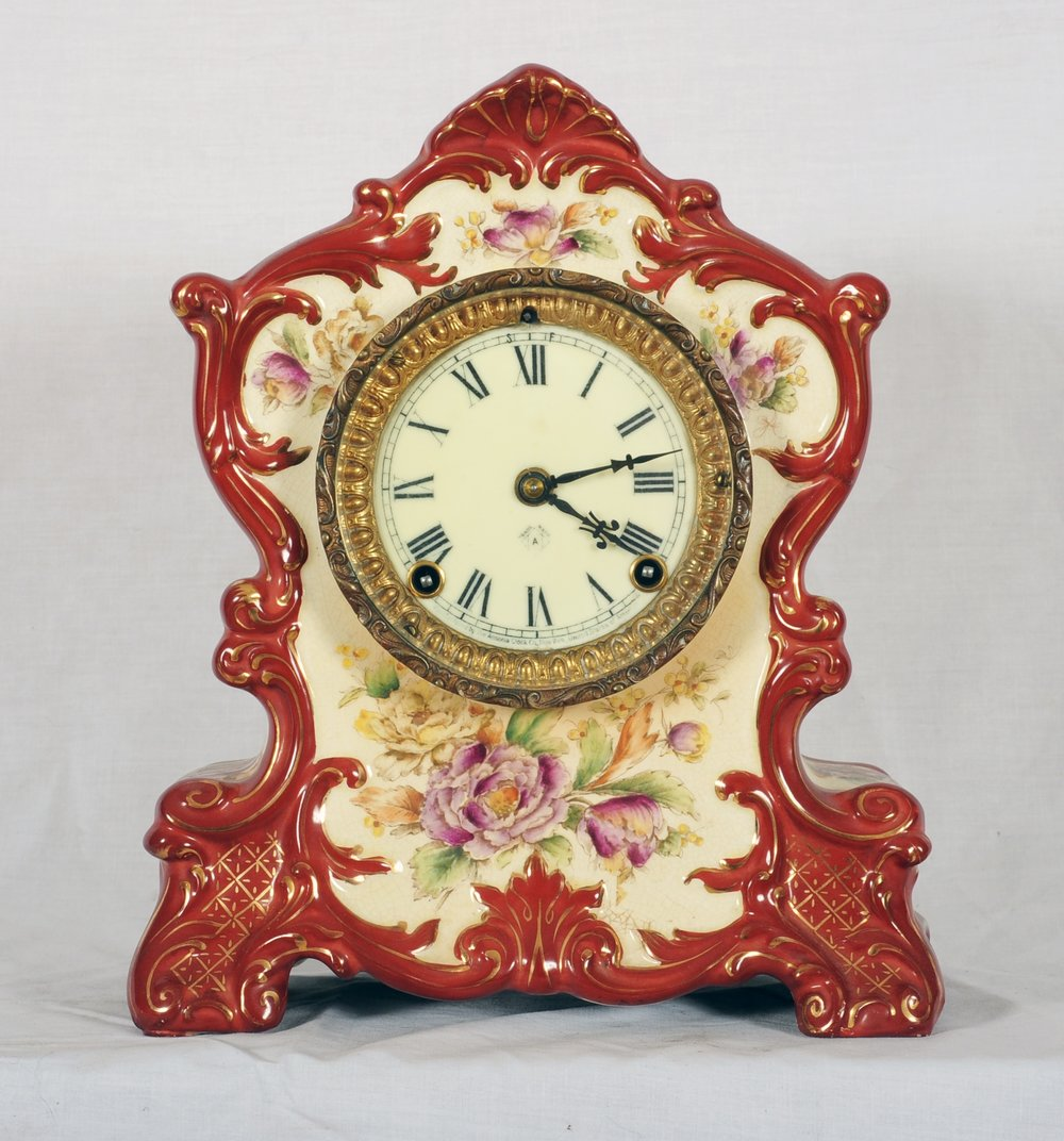 The gallery store the clock gallery original ansonia wyoming porcelain time and strike mantel clock 38 wide hand tooled cast brass bezel with heavy glass beveling amipublicfo Images