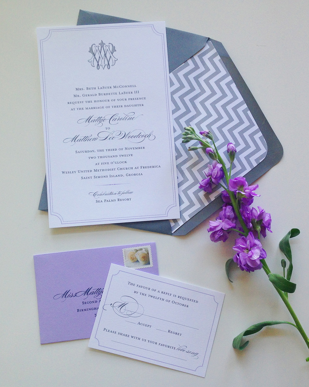 custom invitation suite by  Weddings Etc.  of Homewood, AL