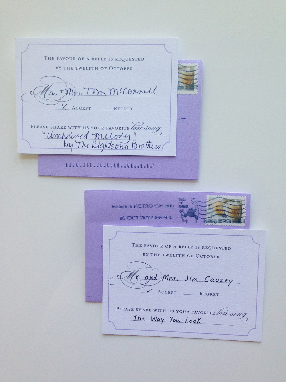 custom invitation suite by  Weddings Etc.  of Homewood, AL  These are the response cards from my mom and Woody's mom!