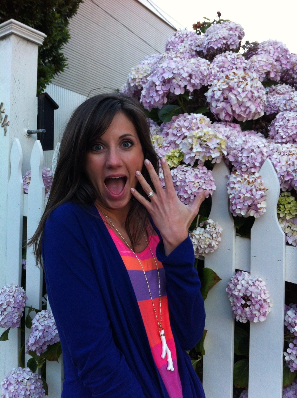 Pictured in San Francisco, three months after Woody's proposal, I was still very excited to wear his ring!