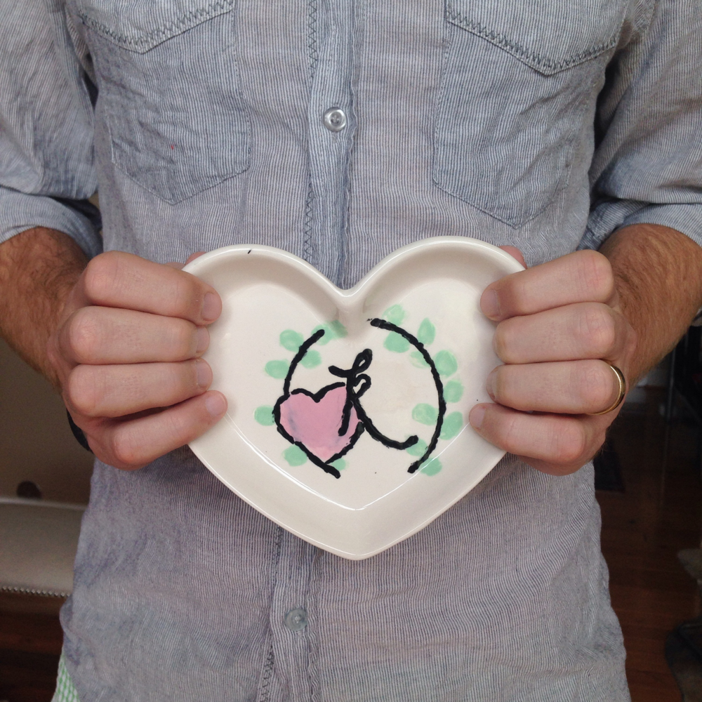 Woody hand painted this ceramic heart with The LovingKind logo mark for my birthday. He is self-proclaimed  not  to be a painter, but what he may lack in skill, he makes up for with loads and loads (and loads) of heart. I love him so much.