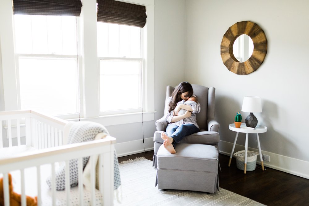 baby boy nursery neutral with pops of color