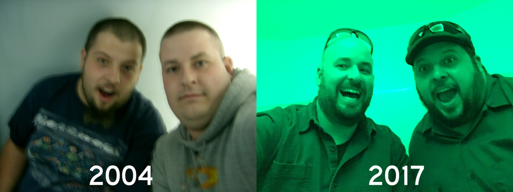 The picture on the left was from our original trip out, in the St Louis Arch, taking selfies before they were cool or easy with Balson's Casio QV-R40. The picture on the right is a similar pod inside Meow Wolf, taken with a fancy iPhone camera. Boy times have changed :)
