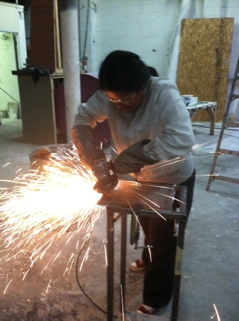 Mrs. O'Brien always wear safety goggles when grinding a weld.