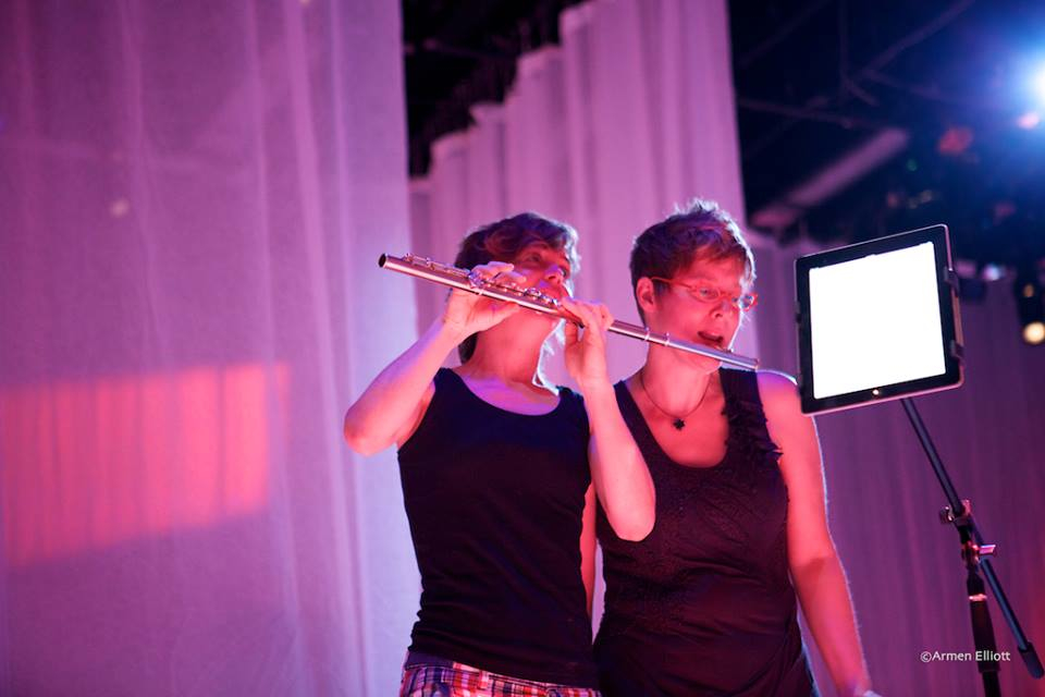 fluting it up at the Whisper Opera rehearsal.  photo: Armen Elliott